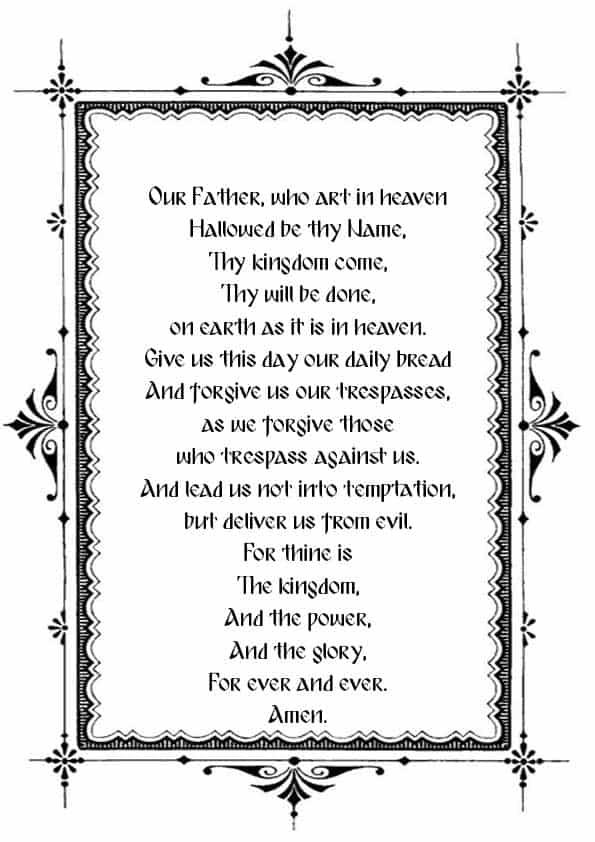 """Распечатать молитву """"Отче наш"""" на английском"""