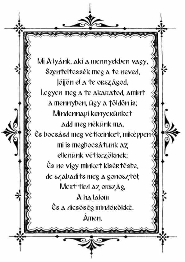 """Распечатать молитву """"Отче наш"""" на венгерском"""