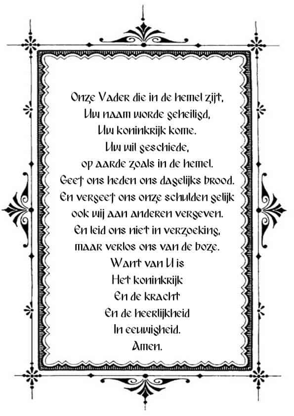 """Распечатать молитву """"Отче наш"""" на голландском"""