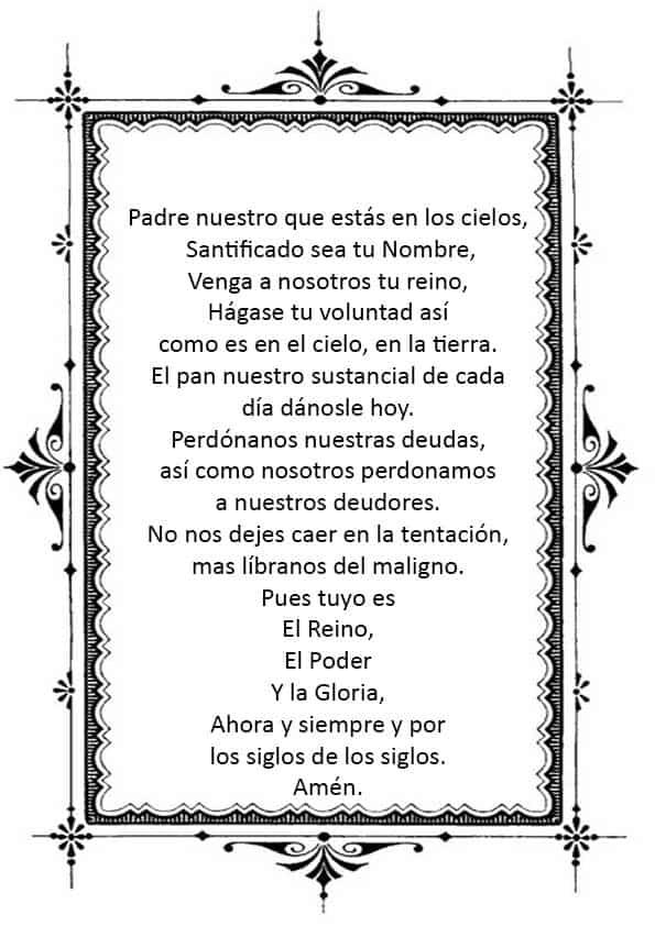 """Распечатать молитву """"Отче наш"""" на испанском"""