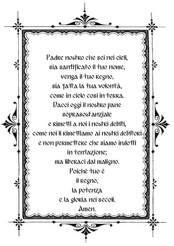 """Распечатать молитву """"Отче наш"""" на итальянском"""