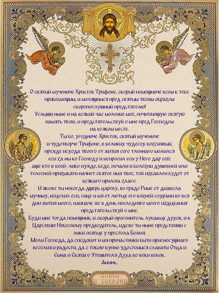 Скачать на телефон молитву Святому мученику Трифону о хорошей обстановке на работе