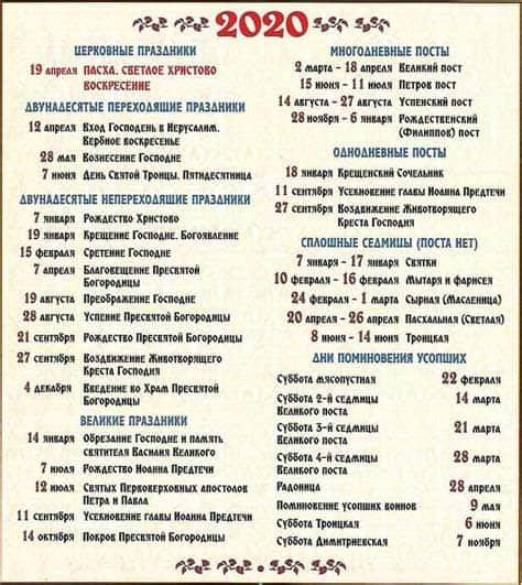 Распечатать православный календарь постов 2020