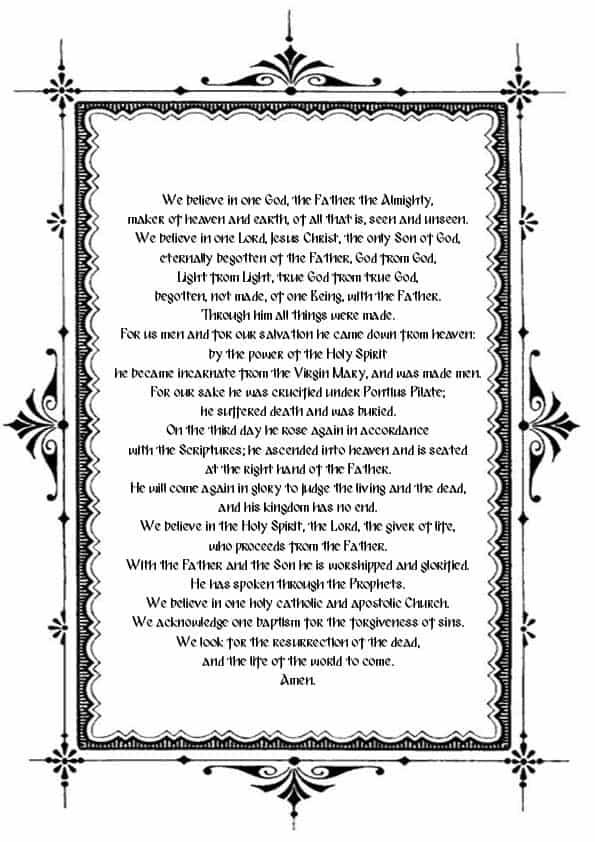 Распечатать Символ веры на английском