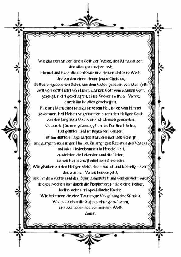 Распечатать молитву Символ веры на немецком