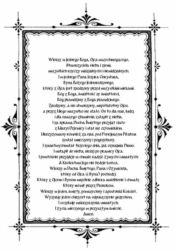 Распечатать Символ веры на польском