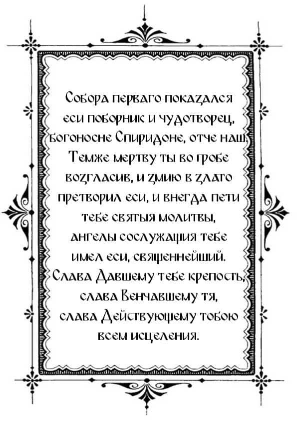 Распечатать тропарь, глас 4 святителю Спиридону Тримифунтскому